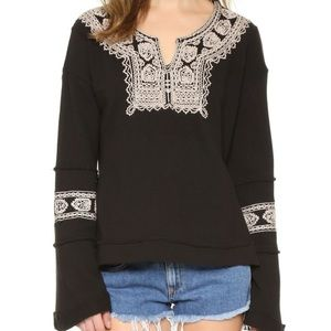 Free People Santa Maria Embroidered Black Shirt
